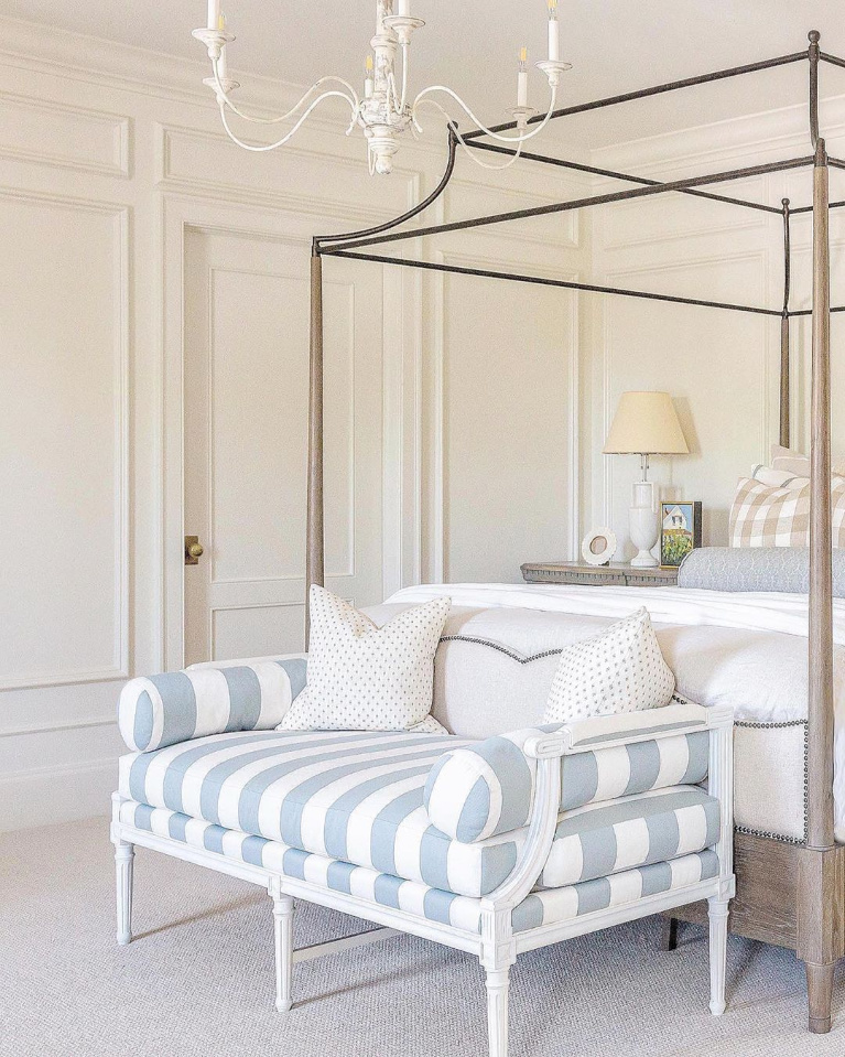 Elegant and traditional bedroom with steel canopy bed and buffalo check uholstery by Schumacher - The Fox Group. #interiordesign#bedroomdecor #thefoxgroup #traditionalstyle #bedroomdesign #canopybeds #buffalocheck