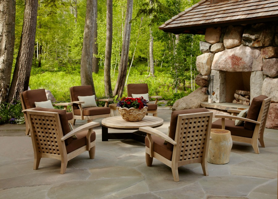 Rustic fireside conversation area with magnificent design by Tom Stringer on Hello Lovely Studio.