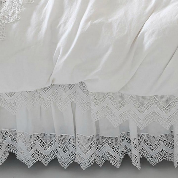 White Cluny bedskirt. Shabby Chic Couture Design Inspiration from Rachel Ashwell!