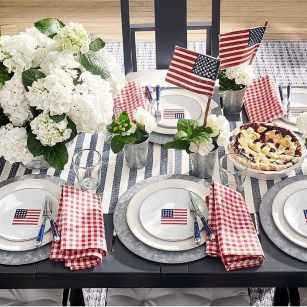 American flag tablescape for 4th of July with gingham linens - potterybarn