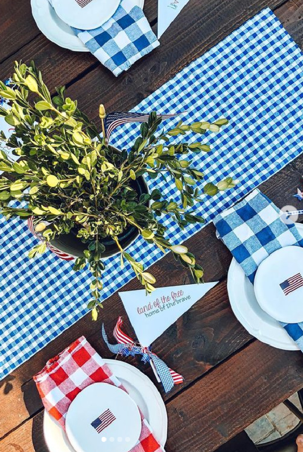 Cute July 4th tablescape with blue and red gingham and American flag plates from WS - @thistownandcountrylife. #tablescape #americanflag #gingham #countrytable #july4