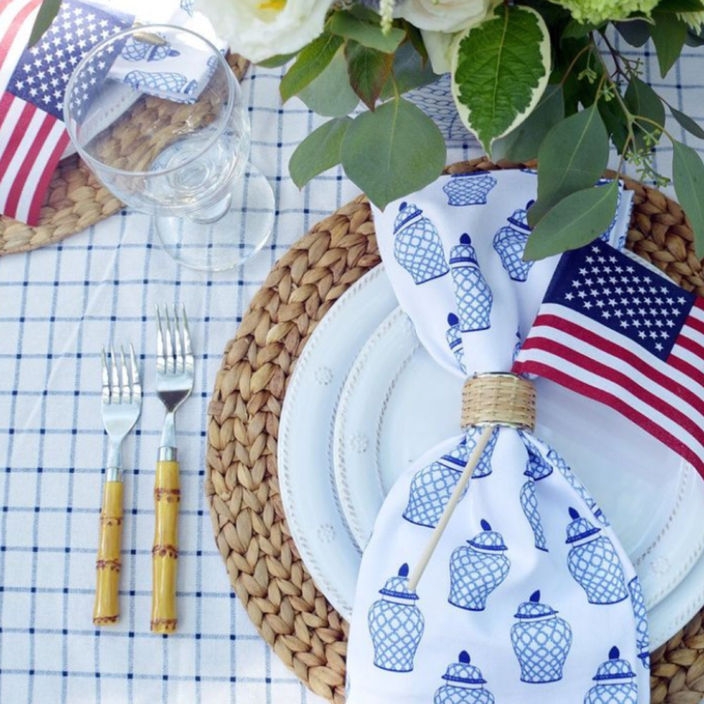 Darling blue and white ginger jar napkins play a starring role in this patriotic placesetting for July 4th by @whhostess!