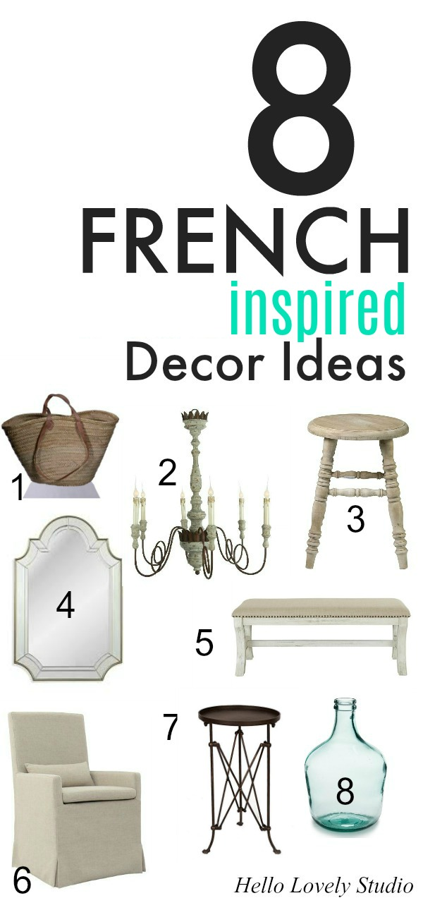 8 French Inspired Decor Ideas Banner on Hello Lovely Studio. Gorgeous furniture, lighting, and accessories to pull together a Country French look with rustic Old World style. Best of Late Summer 2019 on Hello Lovely...in case you're in the mood for decor inspiration.