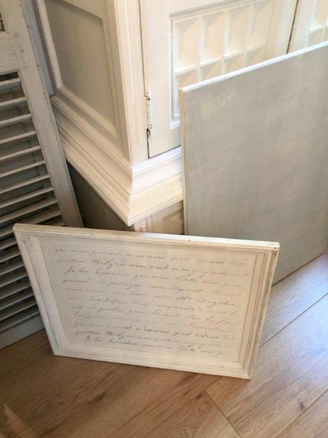 French script stencil on a recycled vintage framed canvas.