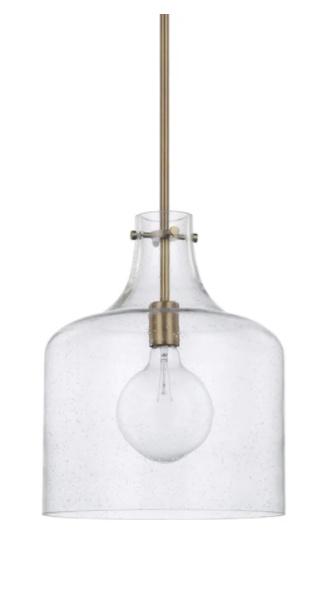 Aged Brass Seedy Glass Pendant Light Fixture