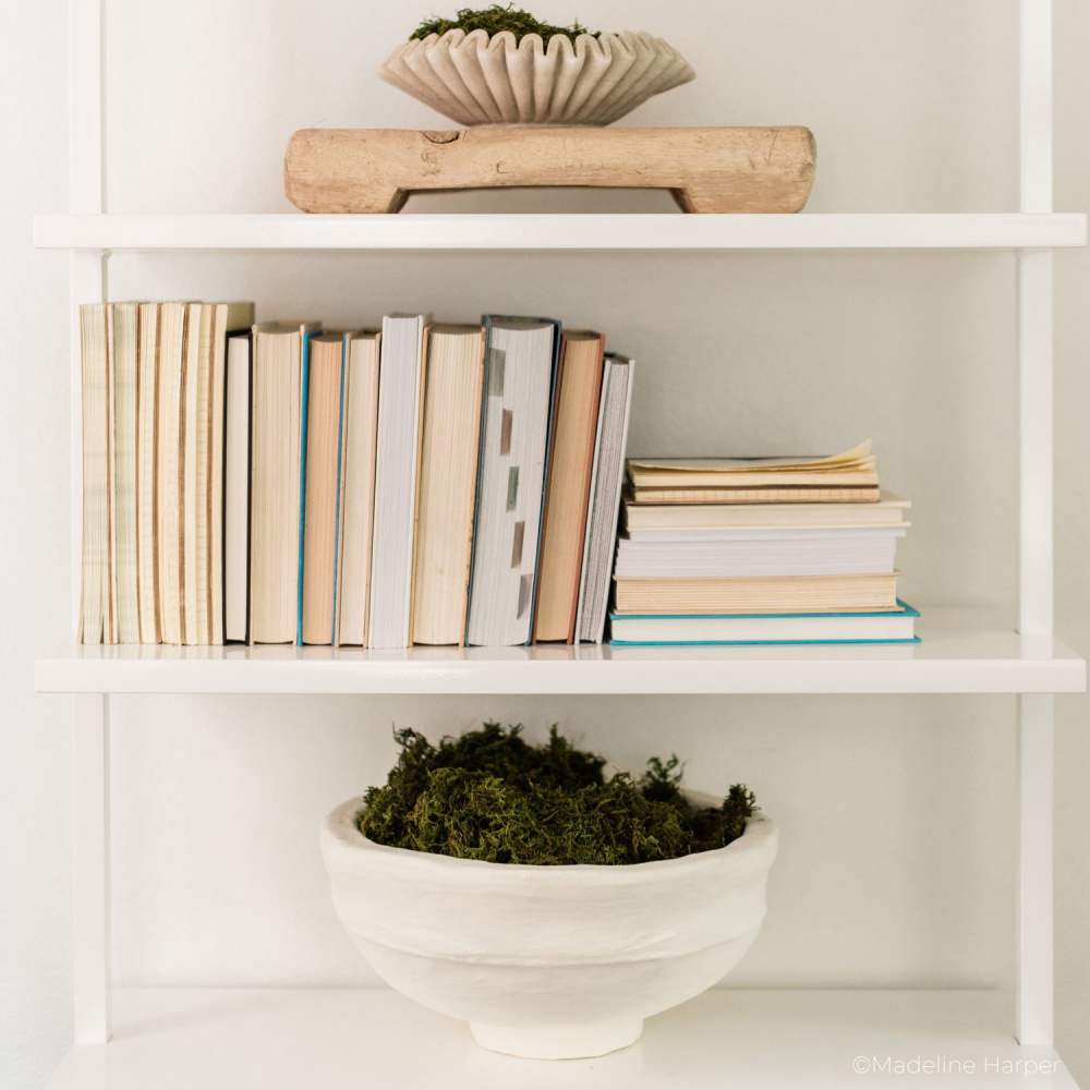 Shelves styled with rustic farmhouse decor accessories including papier mache bowl by Caribbean Craft for Bloomist. #papermachebowls #papiermache #rusticdecor #handmadedecor