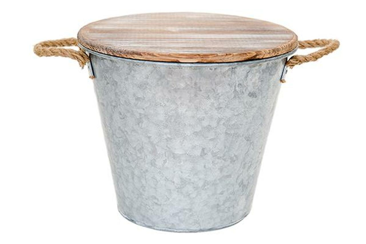 Citronella candle in galvanized bucket with handles and wood lid - a farmhouse look for the patio or deck!