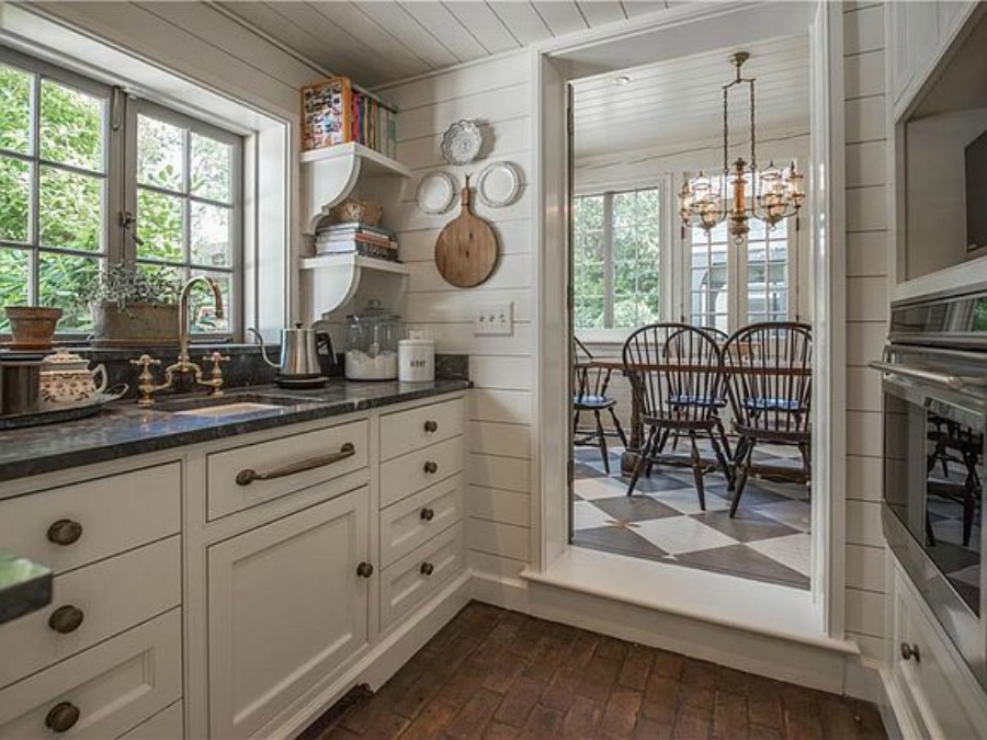 Butler pantry in an elegant historic home with Old World style and beautifully classic European inspired interiors in Marietta Georgia was built for the Kennedy-DuPre family. See more in Traditional Style House Tour: 1935 English Tudor on Hello Lovely Studio.