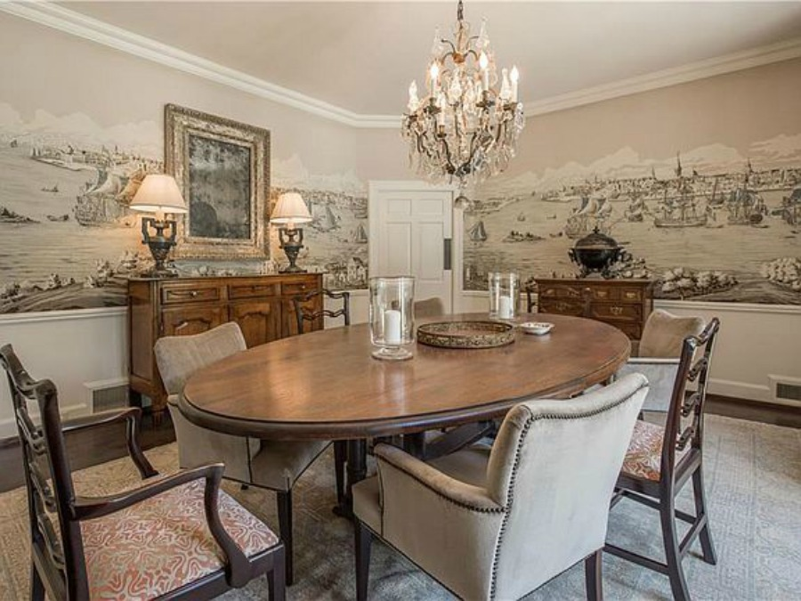 Formal dining room in an elegant historic home with Old World style and beautifully classic European inspired interiors in Marietta Georgia was built for the Kennedy-DuPre family. See more in Traditional Style House Tour: 1935 English Tudor on Hello Lovely Studio.