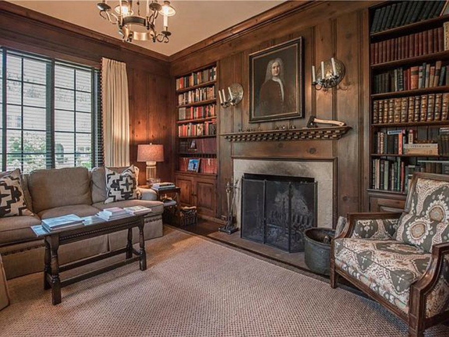 Paneling on walls in den of an elegant historic home with Old World style and beautifully classic European inspired interiors in Marietta Georgia was built for the Kennedy-DuPre family. See more in Traditional Style House Tour: 1935 English Tudor on Hello Lovely Studio.