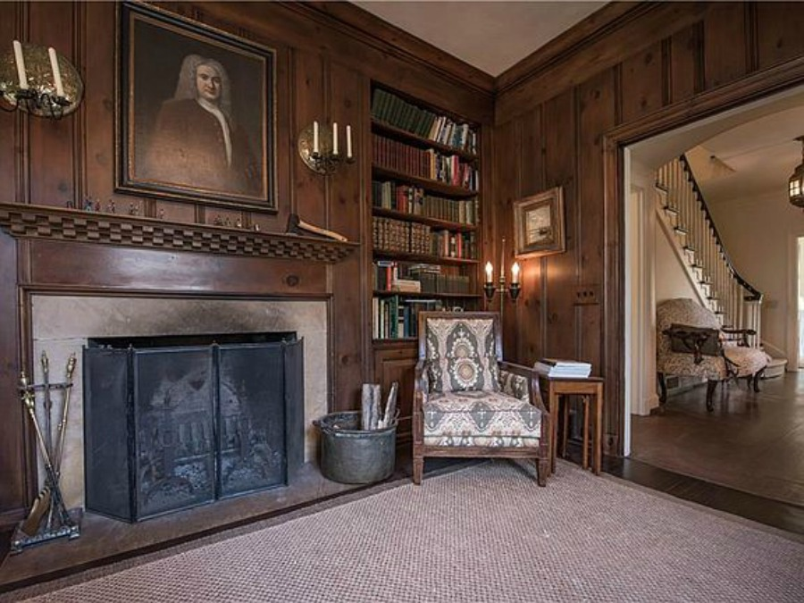 Paneled den in an elegant historic home with Old World style and beautifully classic European inspired interiors in Marietta Georgia was built for the Kennedy-DuPre family. . See more  English Tudor Interior Design Inspiration from this European Country Master Suite & Dining Room Design Inspiration on Hello Lovely Studio.