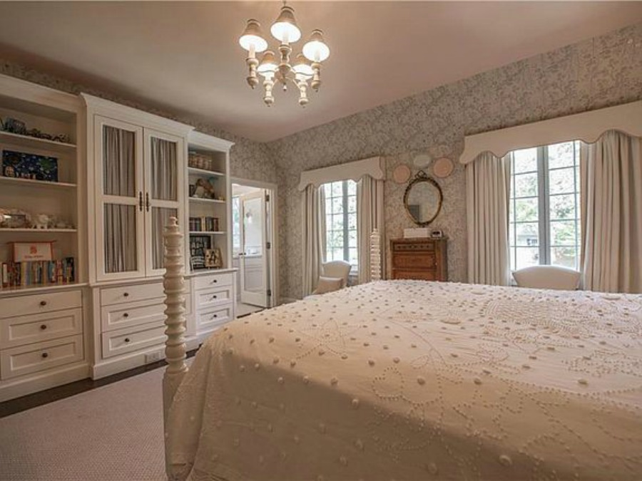 White bedroom in an elegant historic home with Old World style and beautifully classic European inspired interiors in Marietta Georgia was built for the Kennedy-DuPre family. See more in Traditional Style House Tour: 1935 English Tudor on Hello Lovely Studio.
