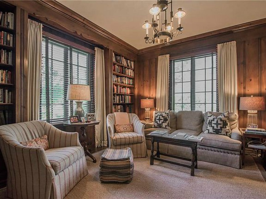 Den in an elegant historic home with Old World style and beautifully classic European inspired interiors in Marietta Georgia was built for the Kennedy-DuPre family. See more in Traditional Style House Tour: 1935 English Tudor on Hello Lovely Studio.