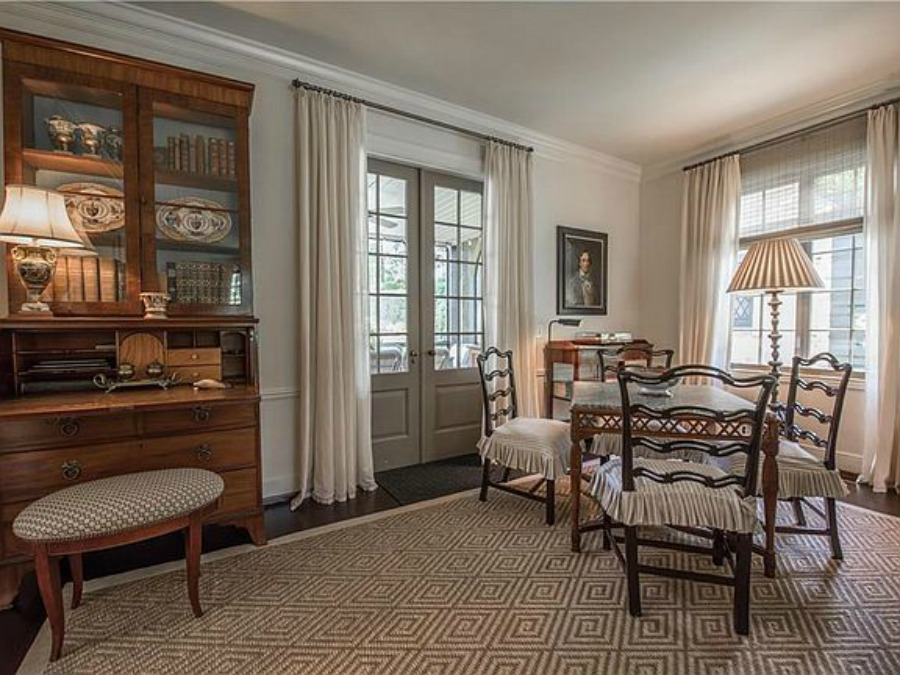 Elegant historic home with Old World style and beautifully classic European inspired interiors in Marietta Georgia was built for the Kennedy-DuPre family. See more of the Entry, Living Room & Kitchen Design Inspiration As Well As Photos of a Beautiful Georgia Tudor Exterior on Hello Lovely Studio.