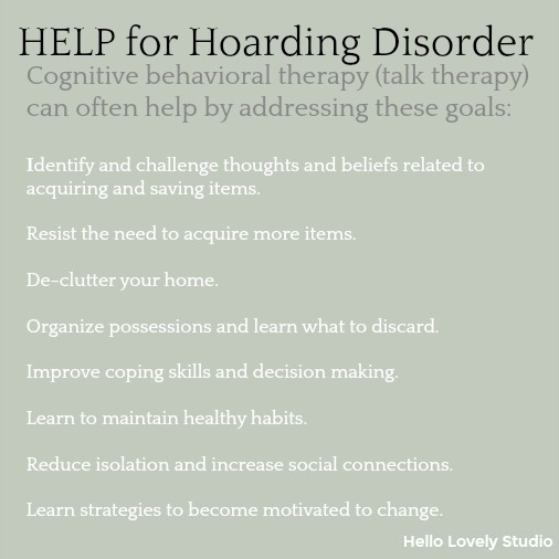 Info about hoarding disorder and how therapy can help.