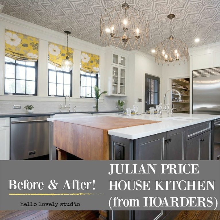 Before & After Julian Price House Kitchen from Hoarders on Hello Lovely Studio. #julianprice #mansion #kitchen #kitchenrenovation #traditionalstyle #kitchendesign #hoarders #beforeandafter