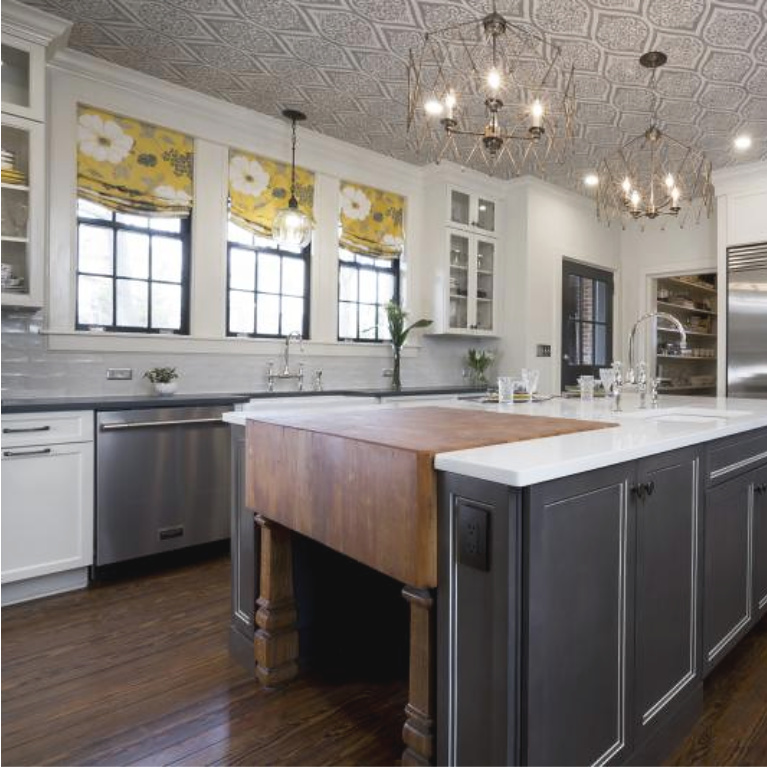Renovated traditional kitchen in Julian Price House - kitchen design by Marsh Kitchen & Bath. #julianprice #mansion #hoarders #kitchendesign #kitchenrenovation #beforeandafter