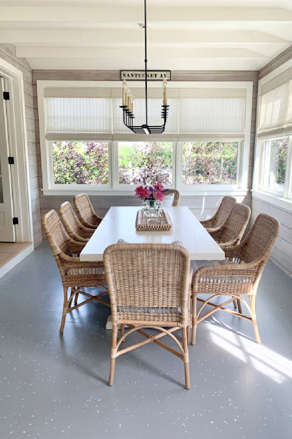 Simple and chic Nantucket casual dining in a former porch - Sherry Hart.