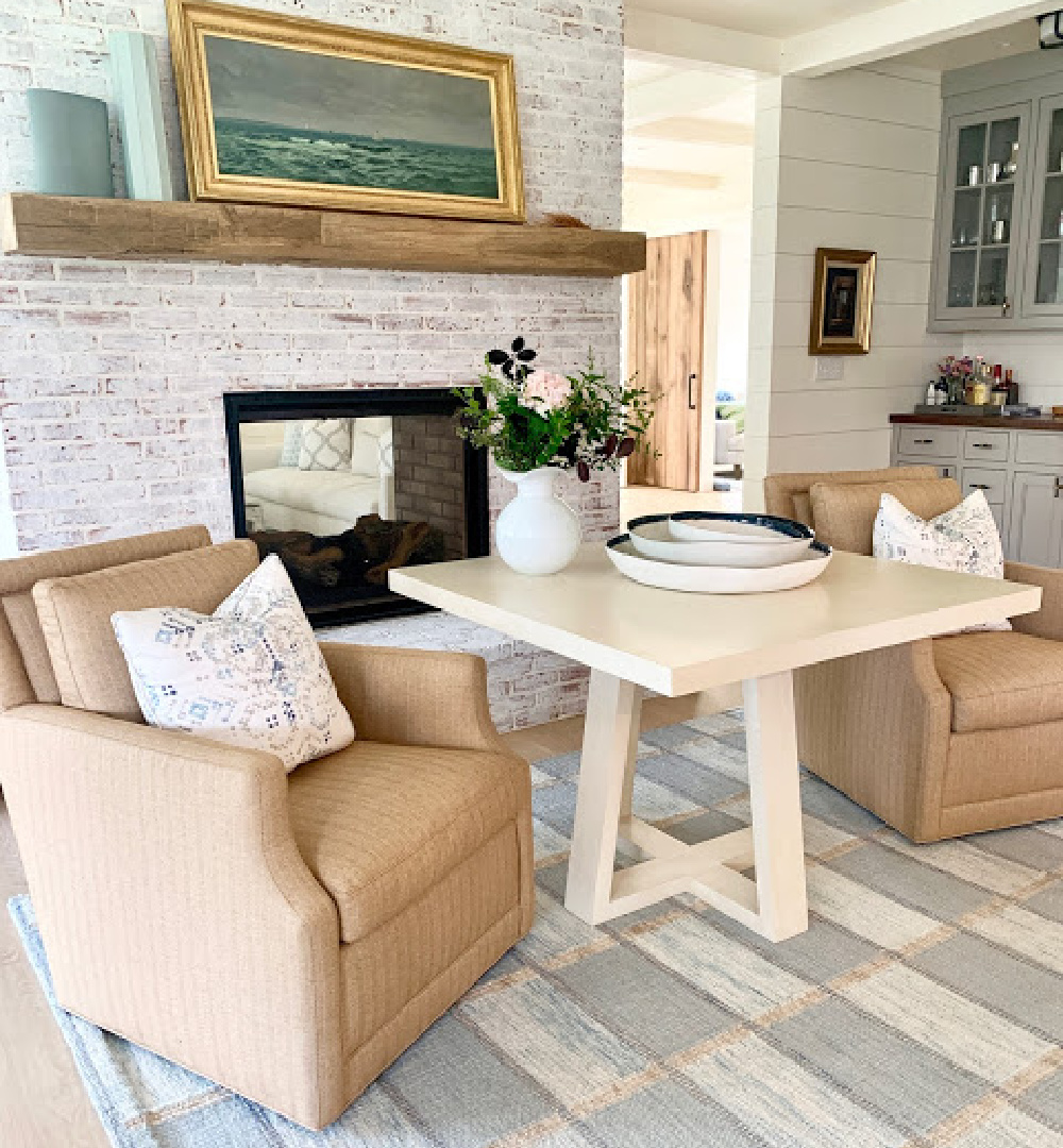 A gorgeous hearth room area in a Nantucket home with interior design by Sherry Hart.