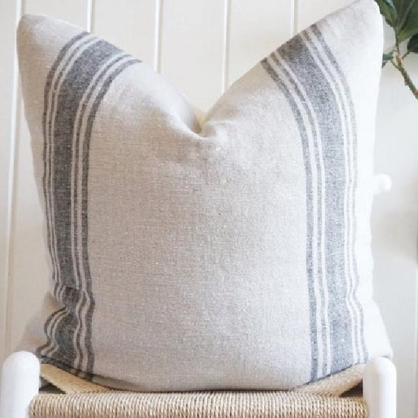 Striped Belgian Linen Euro Pillow by ClothandMain on Etsy. #belgianlinen #pillows #bedding #homedecor #farmhousestyle