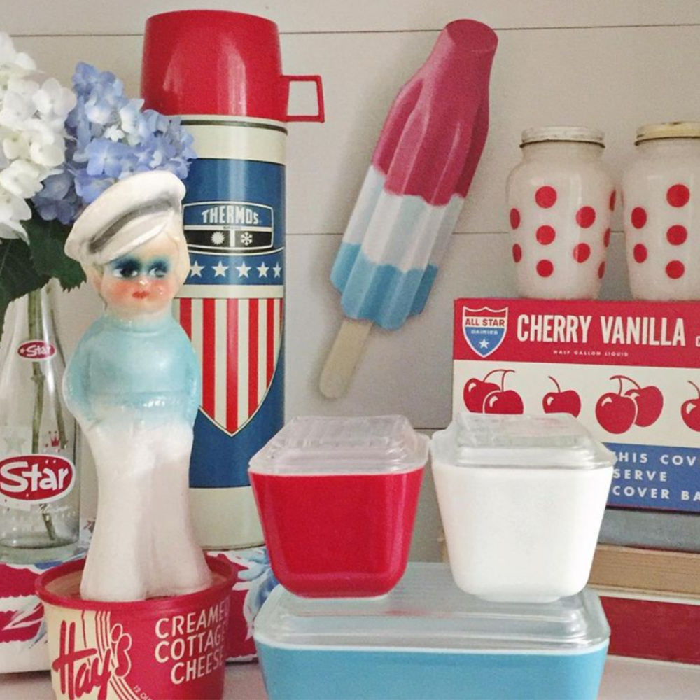 Darling and whimsical vintage wares in cheerful red, white, and blue summer style (bomb pop, thermos, polka dots, oh my!) - @cherishedvintage #july4th #vintage #redwhiteblue