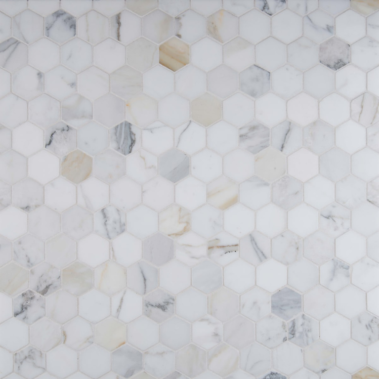 Calacatta Gold marble hex mosaic tile. #calacattagold #hextiles #marblemosaic