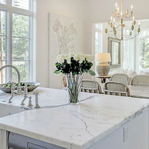 When you're after a sophisticated look for your European inspired white kitchen, here's a source beautiful inspiration! #whitekitchen #southamptonhomes #luxuryhome #frenchkitchen