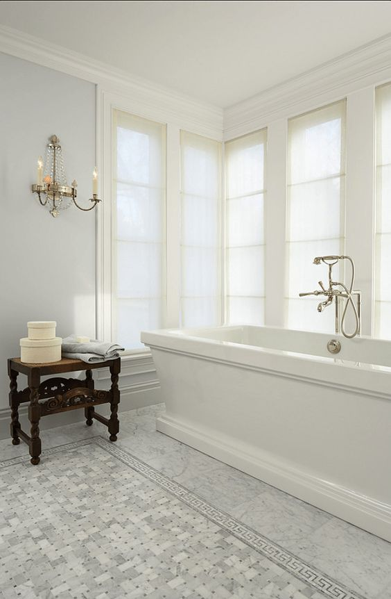 Horizon by Benjamin Moore - this paint color on the walls of a bath designed by Murphy Co. Design.