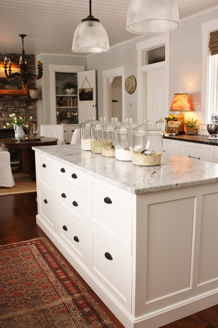 Benjamin Moore Horizon paint color on walls of a classic New England kitchen by For the Love of a House.