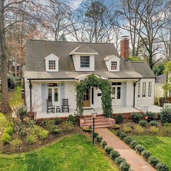 Charming white Cape Cod cottage in Charlotte has storybook cottage charm!