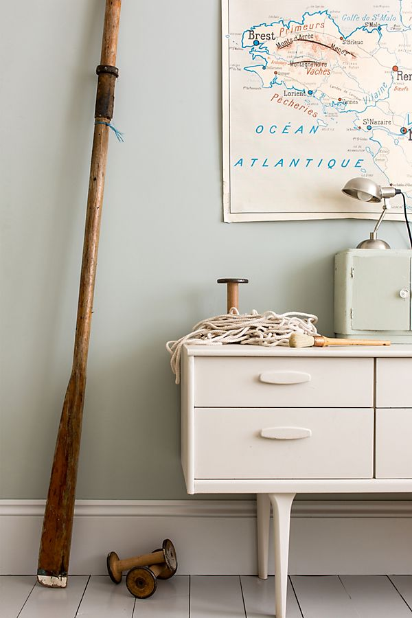 Farrow and Ball Light Blue paint color in a seaside tranquil room.