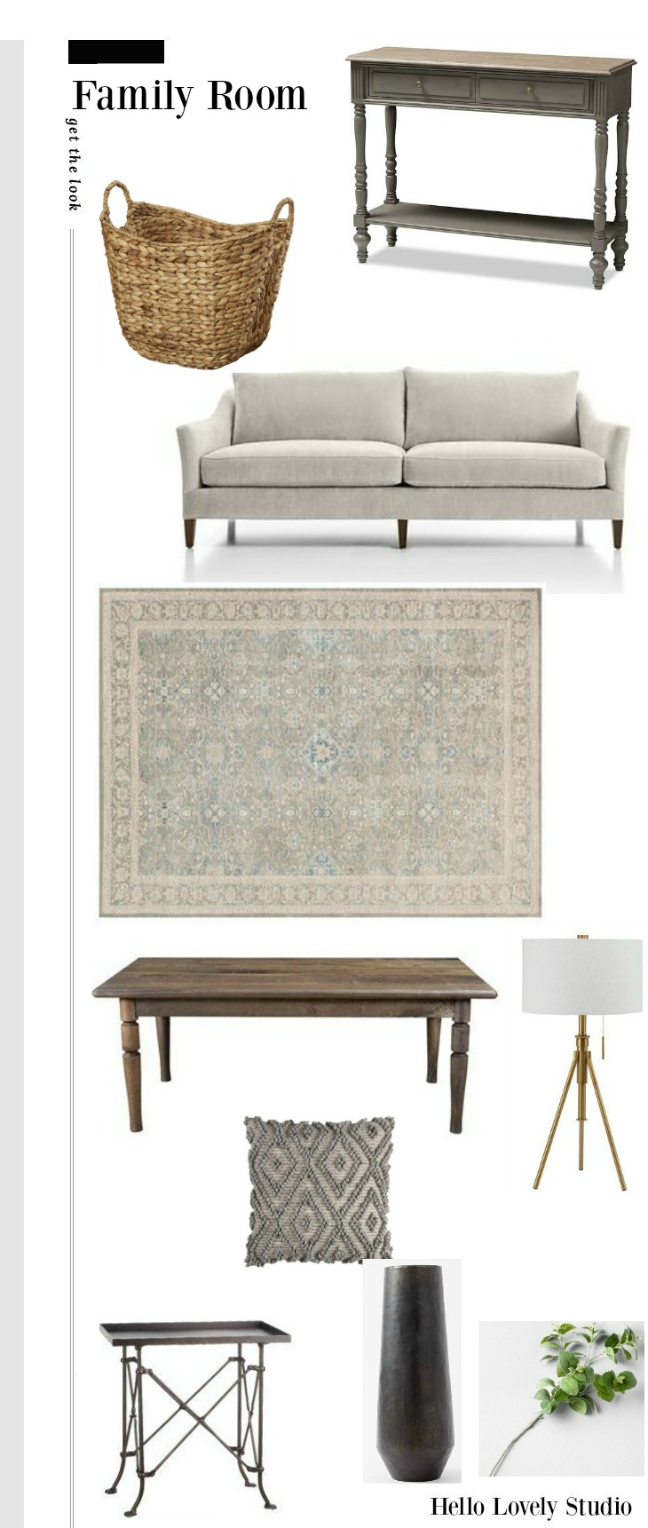 Fixer Upper The Club House Family Room Get the Look Mood Board - Hello Lovely Studio.