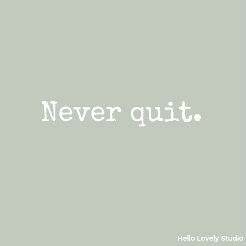 Never quit - inspirational quote on Hello Lovely Studio.