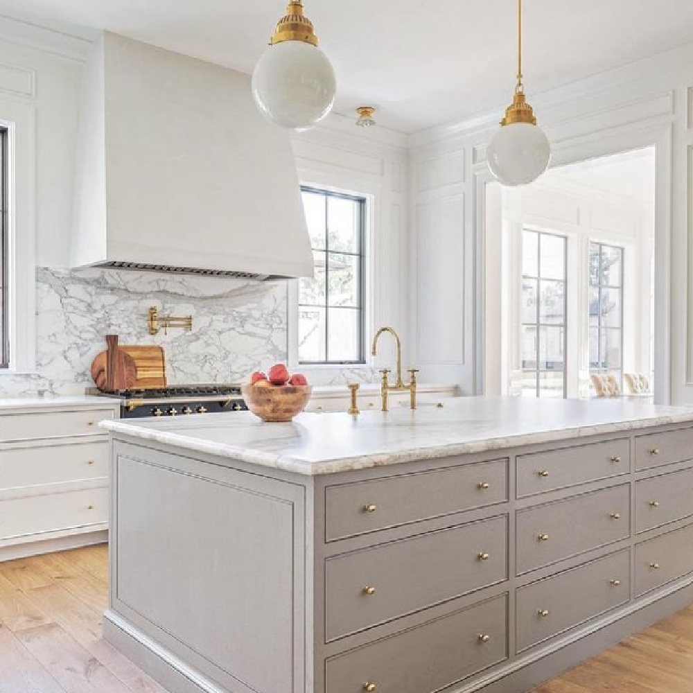 Elegant, timeless, traditional kitchen with white and light grey tranquil mood - The Fox Group.