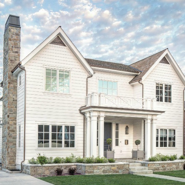Traditional white home exterior of house designed by The Fox Group.  Click through for 9 Tranquil, Traditional, Timeless Interior Design Ideas & Inspiring House Exteriors: The Fox Group!
