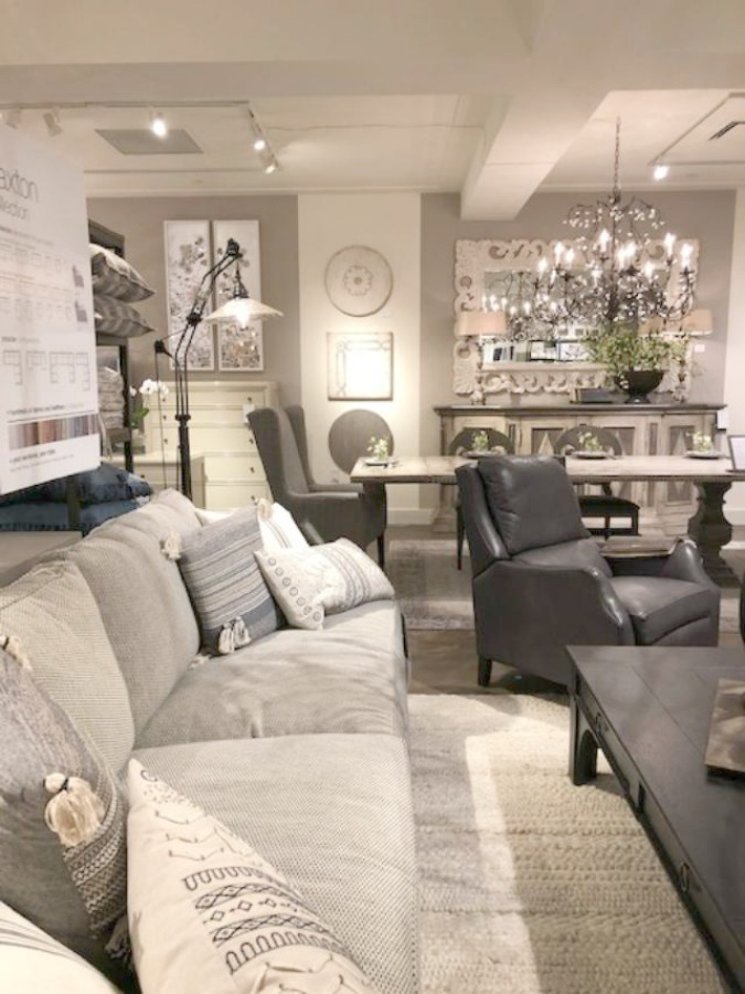 Beautiful upholstered pieces at Arhaus made in the USA have timeless charm and European sensibility for a high end look - Hello Lovely Studio.