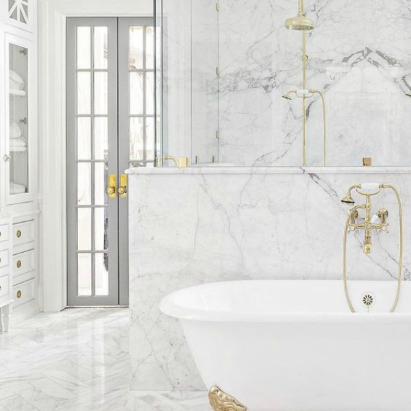 Timeless white marble luxurious bathroom by The Fox Group.  Click through for 9 Tranquil, Traditional, Timeless Interior Design Ideas & Inspiring House Exteriors: The Fox Group!