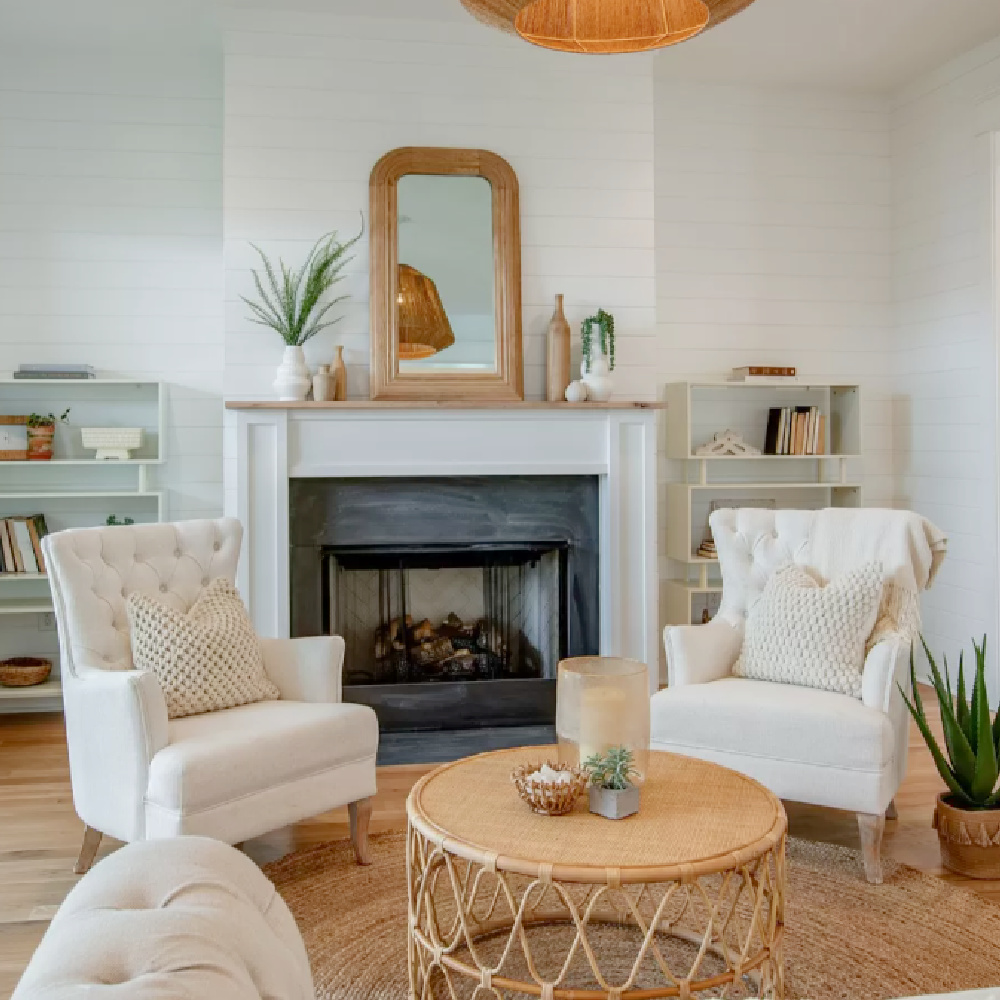 Casual cottage den with shiplap walls, fireplace, and natural organic accents in a Tennsee cottage.