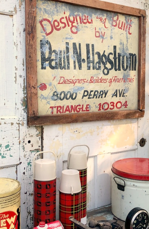 Vintage signage! Autumn inspiration, Fall farmhouse style decor, vintage wares, and handmade treasures mingle at Main Street Market (Urban Farmgirl) in Belvidere, Illinois - Hello Lovely Studio. #fleamarket #farmhousestyle #vintage #junkin