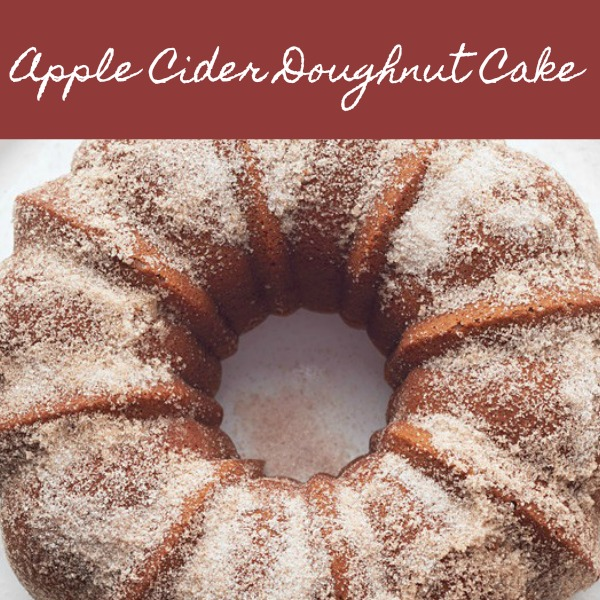 Delectable looking apple cider doughnut cake (bundt cake) recipe from Martha Stewart.