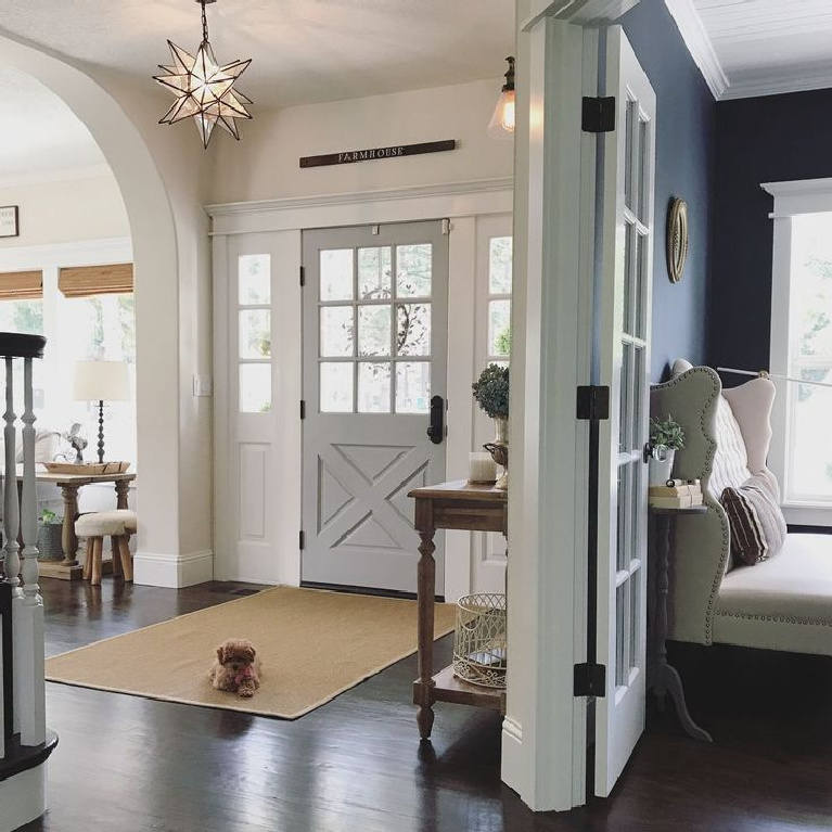 Behr Classic Silver paint color is a timeless tranquil grey on a front