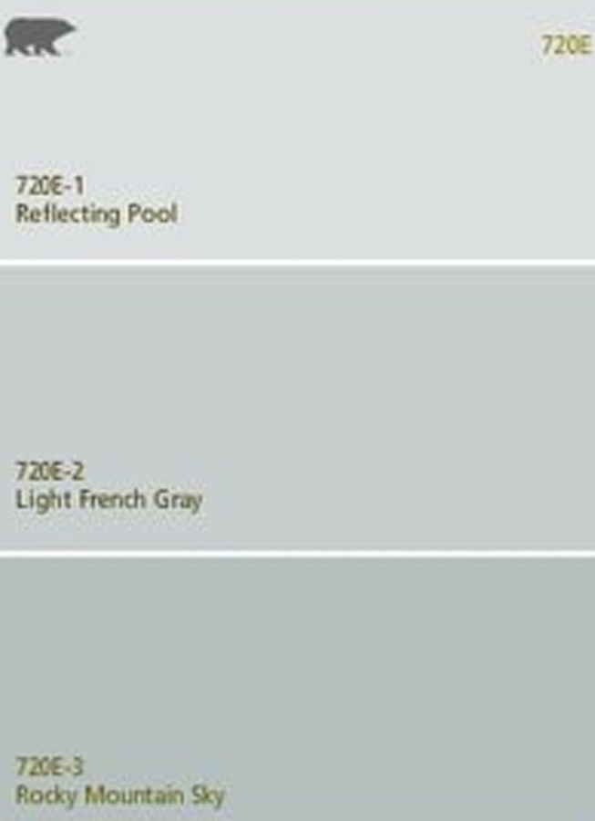 Behr Light French Gray paint swatch with a lighter and darker shade as well. #behrlightfrenchgray #graypaint #paintcolors #bluegray #frenchcountry #interiordesign