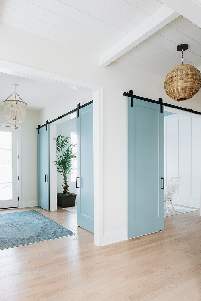 Benjamin Moore Classic Gray paint color on walls and James River Gray on barn doors - Julie Howard. #paintcolors #classicgray #jamesrivergray #benjaminmoore #greypaintcolors