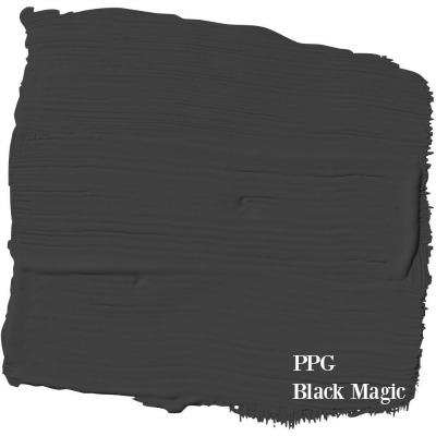 Black Magic PPG paint color is a gorgeous black designer Leanne Ford (HGTV's Restored by the Fords) uses in her projects. #bestblack #blackpaint #blackmagic #leanneford #interiordesign #paintcolors