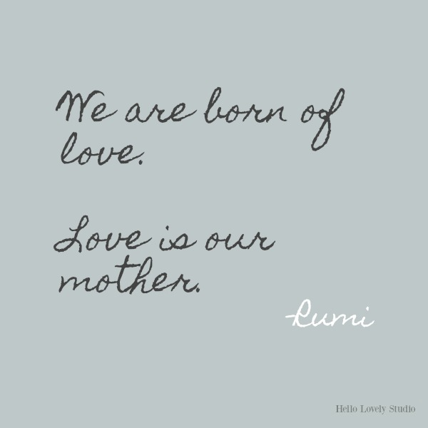 We are born of love...Rumi's gorgeous honey-like words to soothe the soul on Hello Lovely Studio. #inspirationalquote #Rumi #poetry