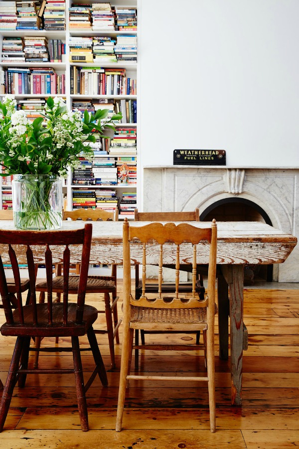 Gorgeous and rustic city farmhouse style in a dining room with design by Odette Williams and architecture by Lorraine Bonaventura. Photo by Ncile Franzen. Come discover 3 Inspiring Art & Design Books on My Nightstand This Minute I Am Loving! #farmhousediningroom #interiordesign #rusticdecor #cityfarmhouse