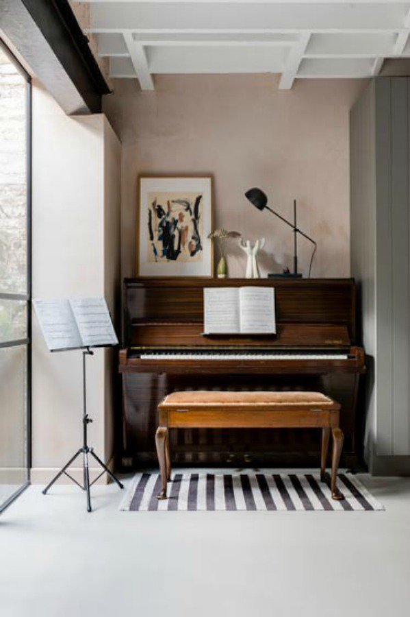Piano vignette. Stunning and soulful space designed by Imperfect Interiors in the UK - this East Dulwich Industrial Conversion sings!