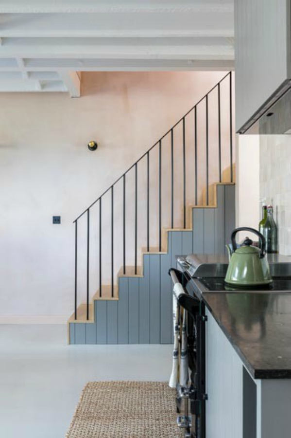 Charming minimal staircase. Stunning and soulful space designed by Imperfect Interiors in the UK - this East Dulwich Industrial Conversion sings!