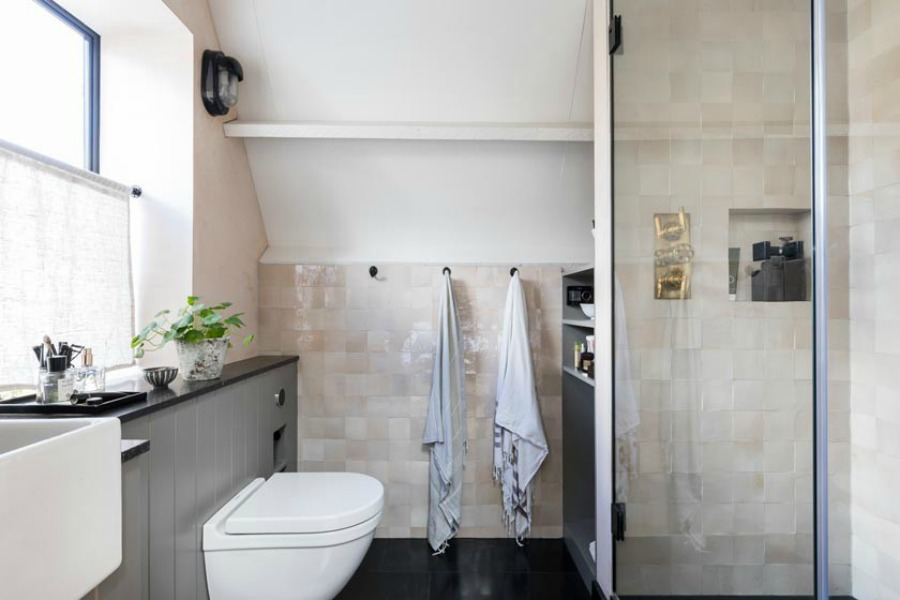 Zellige tiled bathroom in a classic English townhouse. Stunning and soulful space designed by Imperfect Interiors in the UK - this East Dulwich Industrial Conversion sings!
