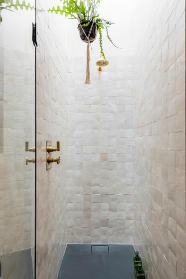 Zellige tiled shower. Stunning and soulful space designed by Imperfect Interiors in the UK - this East Dulwich Industrial Conversion sings!